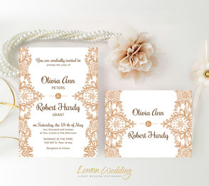 Brown lace wedding invatations