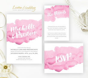 Pink Watercolor wedding Invitation Kits