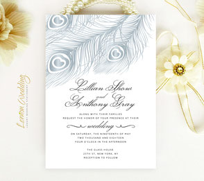 feather wedding invitations | silver wedding
