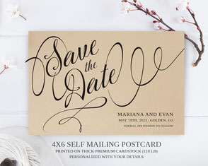 kraft paper save the date postcards