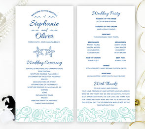 Beach wedding programs