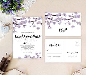 Sakura wedding invitations | tree themed