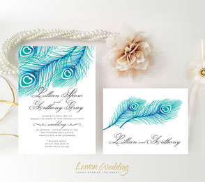 Peacock wedding invites