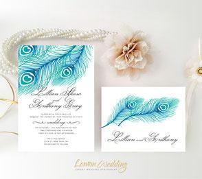 Peacock wedding invites