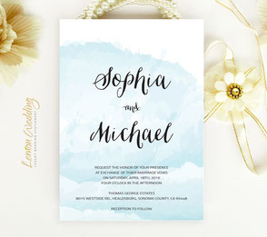 Blue elegant wedding invitations