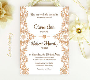 Brown wedding invitation