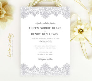 Silver and white wedding invitations | Vintage lace invites