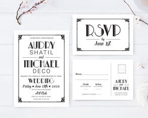 Retro text wedding invitations