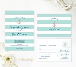 Anchor themed wedding invitations
