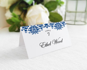 royal blue wedding name cards