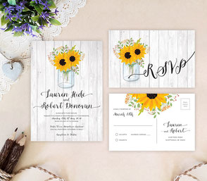 Mason jar rustic wedding invitations