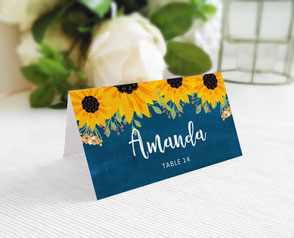 sunflower wedding name cards