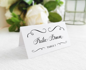 Elegant wedding name cards