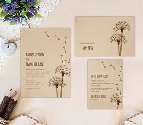 Dandelion Wedding Invitation Kits