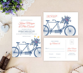 Rustic themed invitations | bicycle wedding