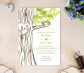 Rustic wedding invitations cheap | love bird themed