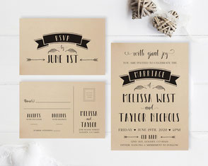 Kraft wedding invitation cards