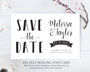 Banner save the date postcard