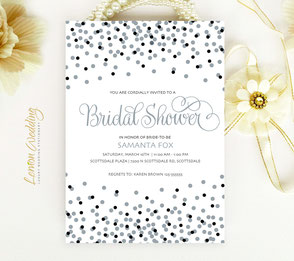Silver elegant bridal shower invitations
