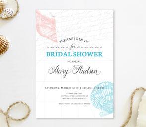 Beach themed bridal shower invitations