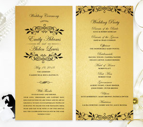 Gold Wedding Ceremony Programs