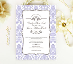 Damask purple wedding invitations