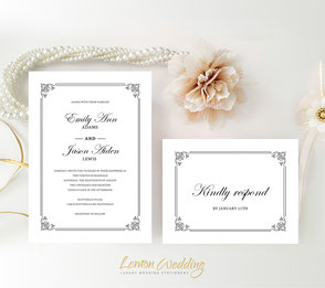 Traditional wedding invitations with RSVP