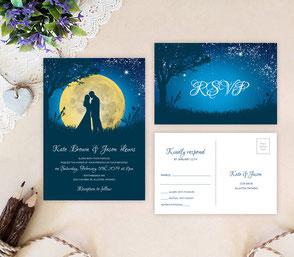 invitations cheap | invitations and rsvp | romantic wedding invites | moon themed invitations