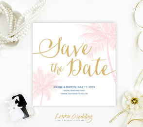Beach themed save the date invitations