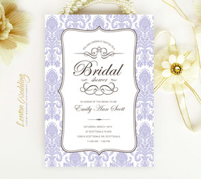 Purple bridal shower invitations elegant
