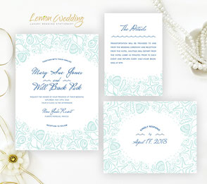 seashell wedding invitations | nautical invites