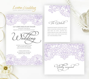Purple wedding invitation sets
