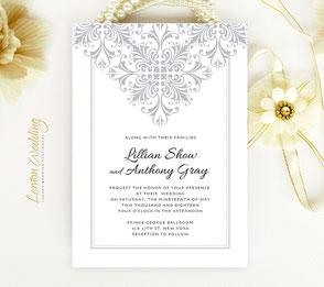 Silver wedding invites | Lace invitations