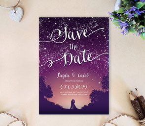 Starry night save the date invitations