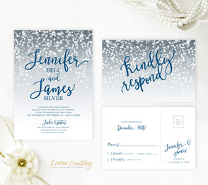 Royal blue and silver wedding invitations and RSVP