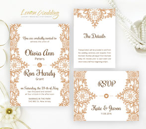 brown lace wedding invitations packs