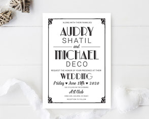 Classic wedding invitations with retro text