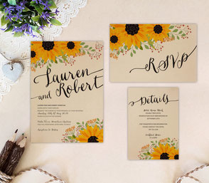 Sunflower themed wedding invitation packages