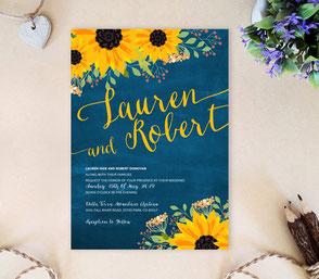 Yellow and blue wedding invitations