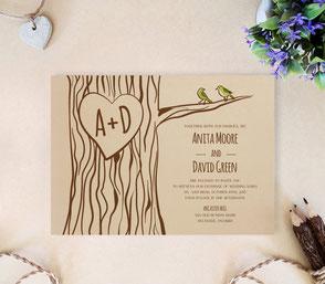 Tree wedding invitations printed ob kraft cardstock