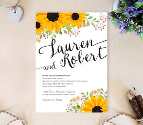 Rustic wedding invitations with sunflowers