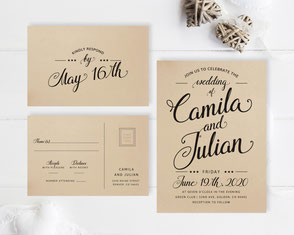 wedding invitations printed on brown paper