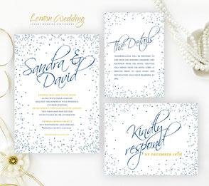 Navy blue wedding invitation sets
