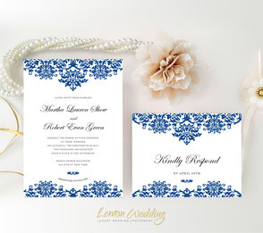 Royal blue wedding invitations | Printed wedding invitations | Damask wedding invitations