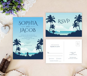 Destination invitations | palm tree wedding