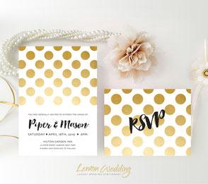 Polka dot wedding invitation
