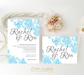 Blue and grey wedding invites