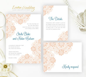 Blush lace wedding invitations packs