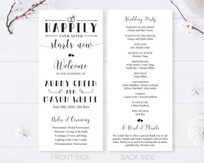 wreath wedding programs