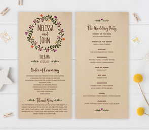 Rustic Wedding Ceremony Programs